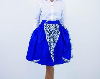 Blue Midi, Ankara Skirt, Boho Skirt, Summer Skirt, Colorful skirt, Women midi, fabric skirt, short skirt, african skirts, african prints