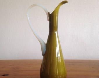 Antique decanter France milkglass vintage olive green
