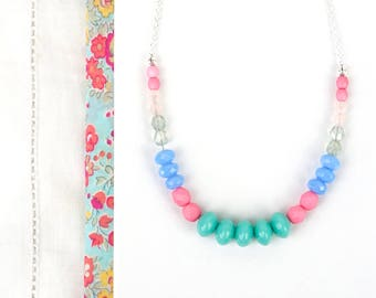 Long Beaded Necklace, Statement, Czech Glass, Bright Colors, Light Turquoise, Pink and Blue, Summer Jewelry, Opaque Beads, Bold Colours