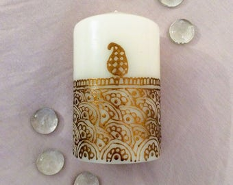 Hand Painted Henna Candle in Bronze