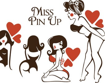 Cute Pinup svg file. Miss Pinup retro 50s Rockabilly girls. EPS. PDF. AI. Cut files for Silhouette, Svg files for Cricut