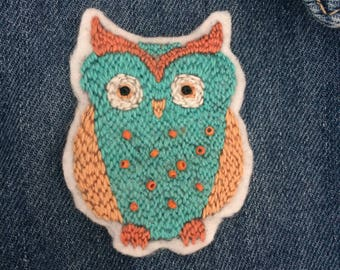 Handmade Embroidery Owl Patch 2