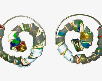 Green gray blue white spiral hoop earrings fluorescent acrylic paint sterling silver