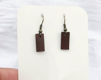 Leather Strip Earrings - Small - Minimalist Leather Jewelry - Leather Earrings - Brown