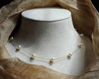 Akoya pearl and 18K solid gold station necklace--MADE TO ORDER