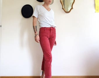 Sale! From 40 to 35 euros! Vintage red faded jeans, size Usa 90 years 27 Jeckerson, high waisted, cigarette line. From cat rock. Miao