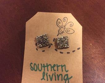 Silver Square Druzy Stud Earrings