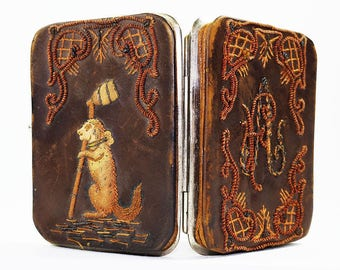 Antique Leather & Silk Embroidered Wallet-Card Holder Ladies