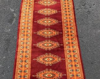 Bokhara Rug Vintage Bokhara Runner Hand Knotted Carpet Red And Orange Color  Rug Size 2u0027