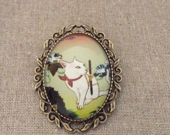 Cat Vintage Glass Cameo Brooch Handmade