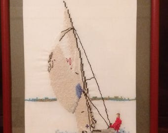 Sailing vessel. Picture embroidered cross