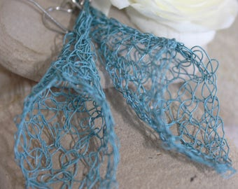 Large Blue Wire Crocheted Dangle Earrings
