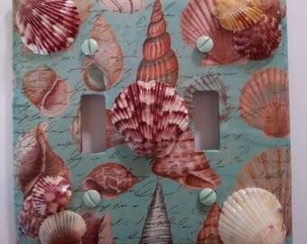 Double Lightswitch Cover Beach Coastal Decor Scallop Seashells Seaside Home Decor Topsail Beach NC