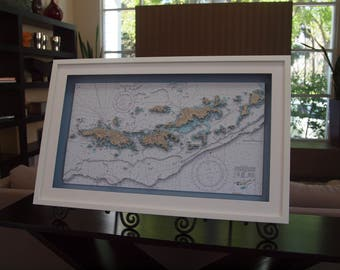 Map of the Virgin Islands. 3D Nautical Chart.