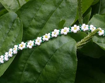 Classic Daisy Chain Seed Beaded Anklet
