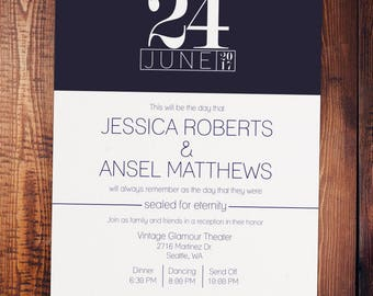 Navy Modern Wedding Invitation, Envelopes Included (lds temple wedding, customizable)