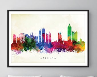 Atlanta Skyline, Atlanta Georgia Cityscape Art Print, Wall Art, Watercolor, Watercolour Art Decor