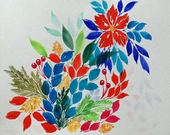 Original Watercolor Art Print, Whimsical Blooms Series, Bloom F, 6x9