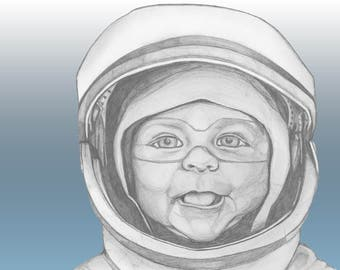 Baby Portrait / Astronaut / Fine Arts Print / Poster / Painting / Drawing /