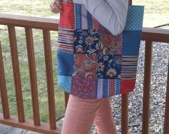 Quilted Tote Bag // Red, White, & Blue Fabric, Retro Tote Bag, Modern Style with Medium handles