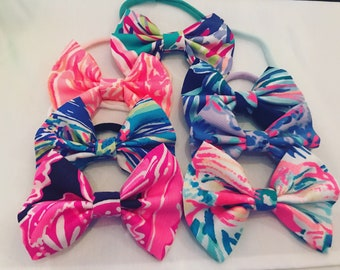 Lilly Pulitzer Inspired Fabric Bows