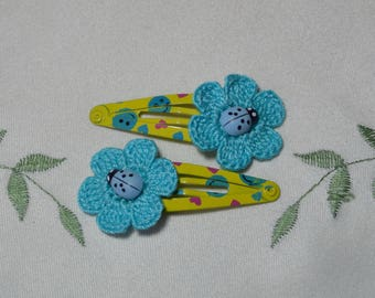 Flower Hair Clips - Crocheted, Hair Clips for Girls, Hair Pins