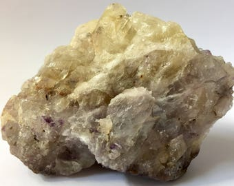 Yellow and white Calcite Crystal with quartz
