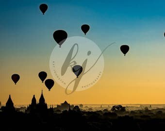 Balloons at Sunrise 12x18 or 16x24 or 24x36 Bagan Myanmar (Burma)