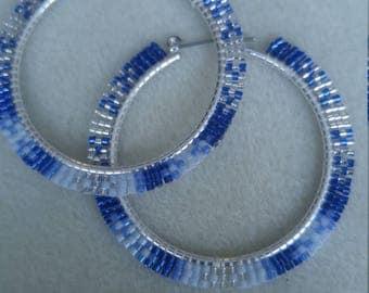 Native American Brick Stitch Beaded Hoop Earrings