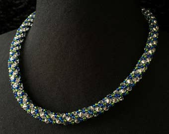 Glass - blue-green Crystal beads necklace