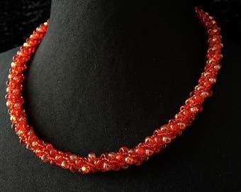 Glass - Orange beads necklace