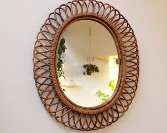 15% Off  Italian Rattan Wall Mirror 1960s