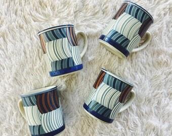 coffee mugs / set of 4 mugs / vintage mugs / blue mugs / mid century modern mugs
