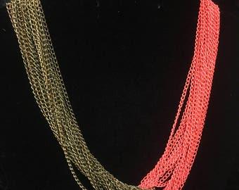 Florescent Orange And Gold Necklace