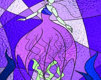 Jellyfish Mermaid Stained Glass print
