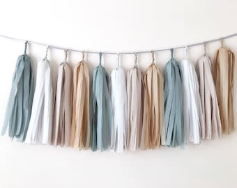 Neutral Tassel Garland Gray Brown Tissue Paper Tassel Rustic Wedding Garland Baby Shower Nursery Room Decor Fall Thanksgiving Garland
