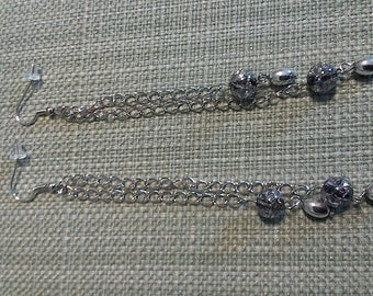 Silver dangle earrings with glass & silver beads