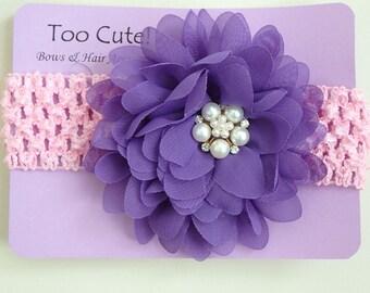 Purple Floral Headband with Pearl and Rhinestone Embellishment