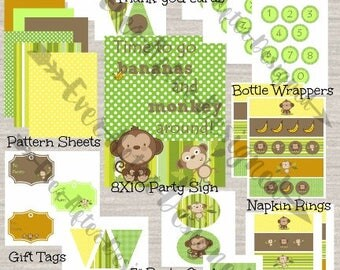 Monkey Birthday Party Package ~ Printable Party Package