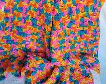 Vintage Handmade Crocheted Afghan Blanket Throw