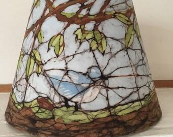Handmade batik blue green and brown lampshade