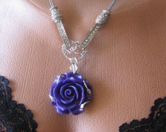 "Pendant ""Purple Rose"" Coral, crystals"