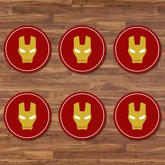 Iron Man Cupcake Toppers - Iron Man Stickers - Red & Gold Logo - Iron Man Birthday - Iron Man 2 inch Round Stickers - Superhero Party