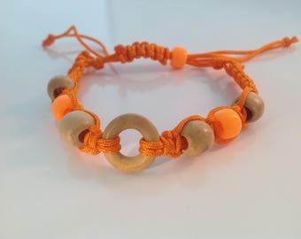 Orange Wood Macrame Bracelet