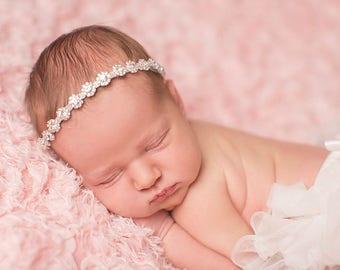 Silver Newborn Crystal Halo Headband Photography Prop