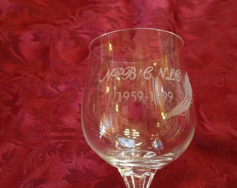 "Wine Glass etched with ""National Parole Board"" and Sheaf of Wheat"