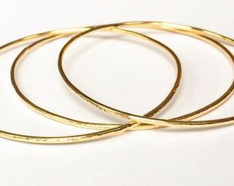 Set of three gold stacking bangles | 14k gold filled