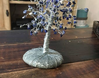 Blue agate tree of life sculpture