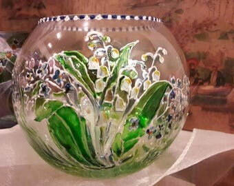 "Hand-painted glass vase/candle holder ""Lily of the Valley"" by GeNaStudio"