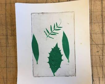 Leaf etching print